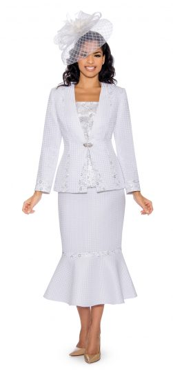 Giovanna, white skirt suit, 0912, white church suit