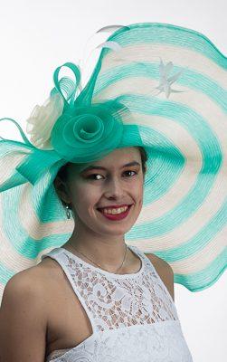 AJ613S,grren-cream hat, derby hat