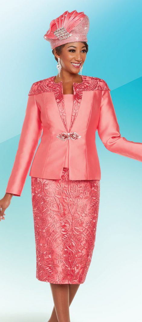 Benmarc,48218, coral church suit, coral skirt suit