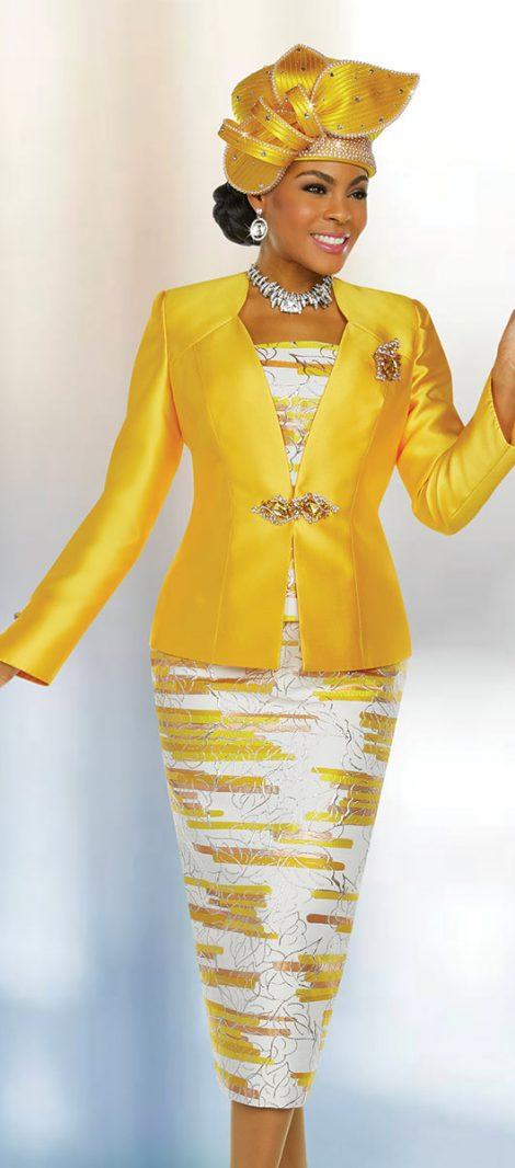 benmarc, 48223, gold church suit, yellow;low skirt suit