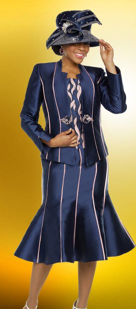 benmarc, 48224, navy-pink church suit, navy-pink skirt suit