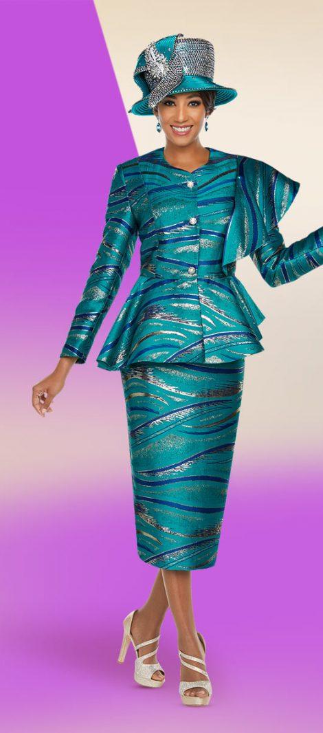 benmarc,48226, turquoise skirt suit, turquoise church suit