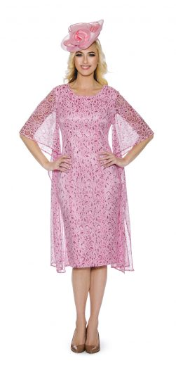 Giovanna-pink lace church dress, D1352