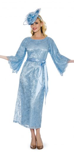 Giovanna-light blue lace church dress, D1353