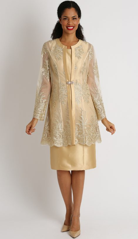 Diana, dress and jacket, 8445, champagne