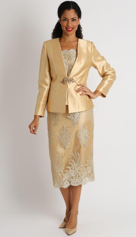 Diana, skirt suit, 8448, gold women's skirt suit