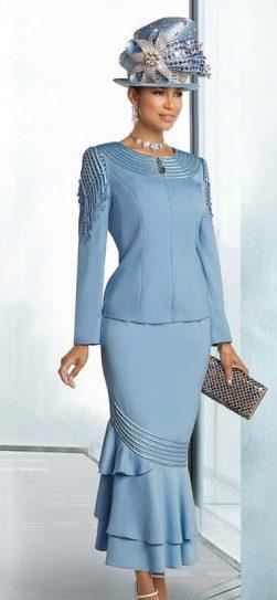 Donna Vinci, Ladies skirt suit, 11732, light blue skirt suit