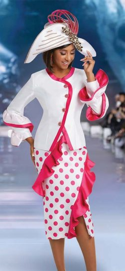 donna vinci, 11737, pink and white suit, womens church suit
