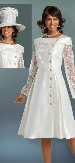 Donna Vinci, ladies church dress, 11740,white church dress