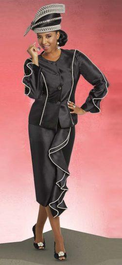 Donna Vinci, Women's Church suit, Black Plus Size Church Suit 11755