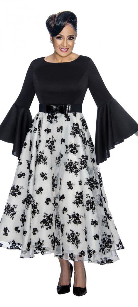 dorinda clark-cole, dcc1831, black-white church dress