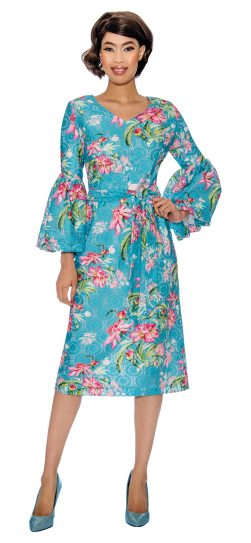 dress by nubiani, DN3021, printed dress for church