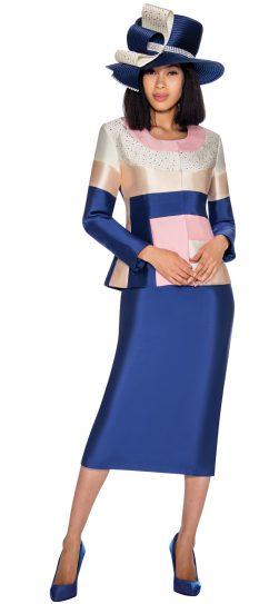 gmi, 7212, navy print skirt suit
