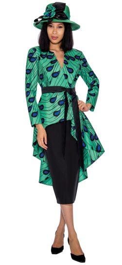 gmi,7362,green print skirt suit