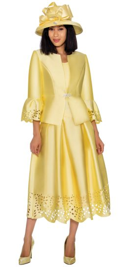 gmi, 7383, yellow skirt suit, ladies church suit