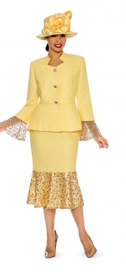 Giovanna, yellow skirt suit, yellow womens church suit, 0914