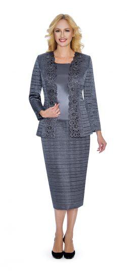 Giovanna, skirt suit, dressy crinkle fabric skirt suit, g1011, gunmetal skirt suit
