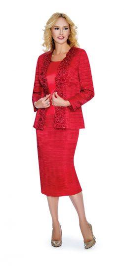 Giovanna,crinkle satin skirt suit, g1011,red skirt suit, dressy red skirt suit
