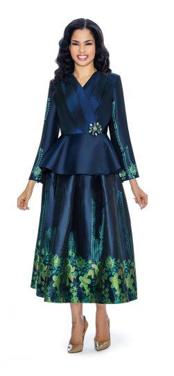 Giovanna,navy/green skirt suit, g1068