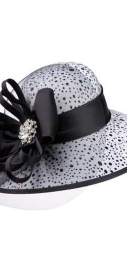 Giovanna, fabric covered hat, hd1335, black/white