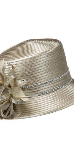 Giovanna,champagne hat, satin ribbon hat, hr1037