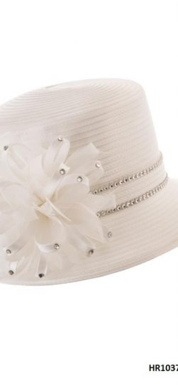 Giovanna, white hat, satin ribbon, hr1037