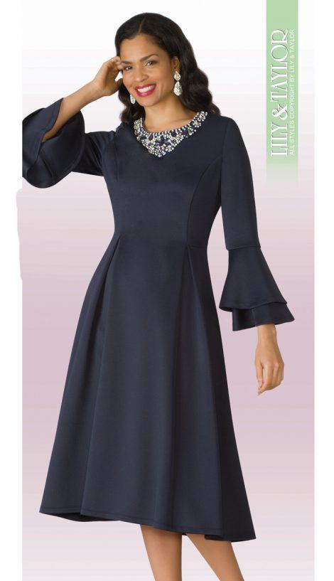 lily and Taylor, scuba dress, 4197, navy dress