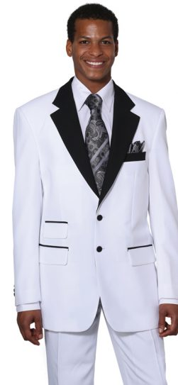 longstry, two tone mens suit, white-black, 7022
