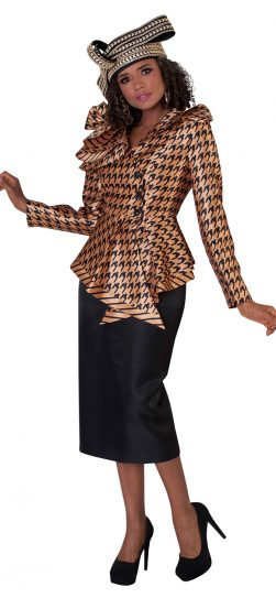 tally Taylor, skirt suit, 4645, gold/black