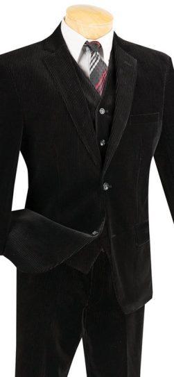 vinci,mens corduroy suit, black corduroy suit