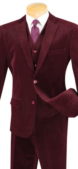 vinci,burgundy corduroy mens suit