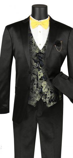 vinci, men's suits, black mens suit, svff-2-blk
