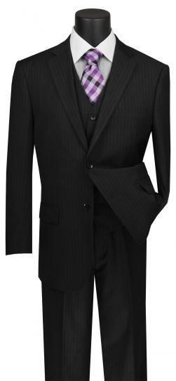 vinci, mens black pin stripe suit, v2rs-7-black