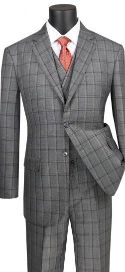 vinci, mens grey plaid suit, v2rw-12