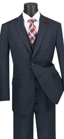 vinci, mens black plad suit, v2rw-15