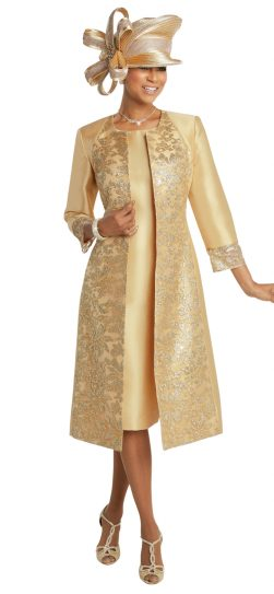 donna vinci, 11735, gold jacket dress, gold church dress