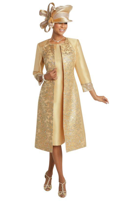 donna vinci, 11735, gold jacket dress, gold church dress
