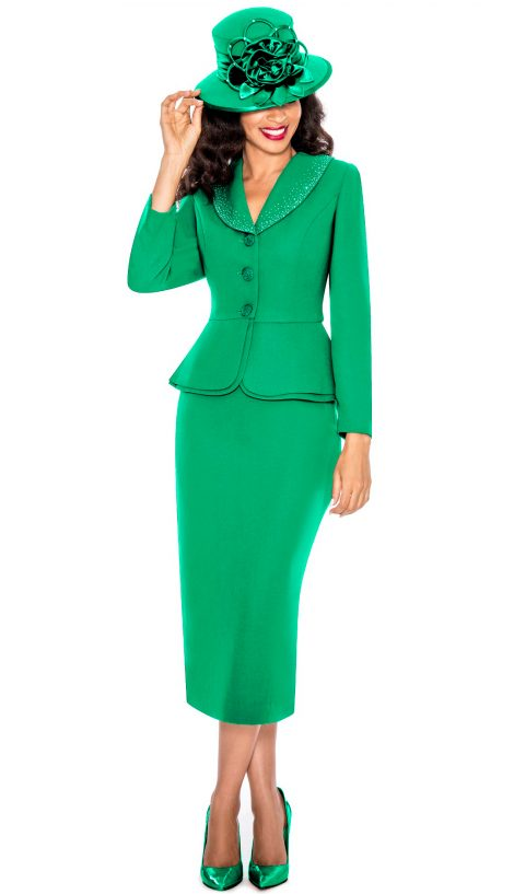 Giovanna, emerald skirt suit, green church suit, 0709
