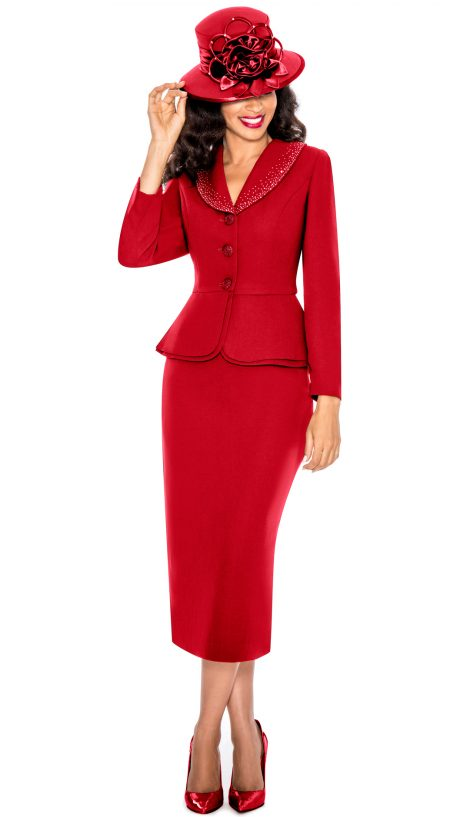Giovanna, church suit, red church suit, red plus size skirt suit, 0709