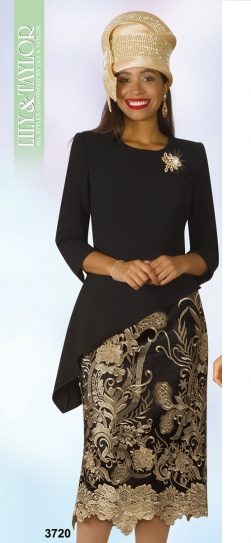 lily and taylor, skirt suit, 3720, black-gold