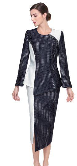 serafina,skirt suit, 3903, navy-off white