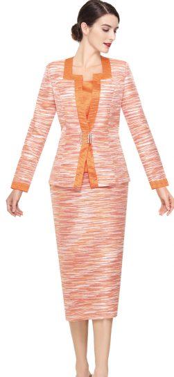 serafina,skirt suit, 3921, orange multi,