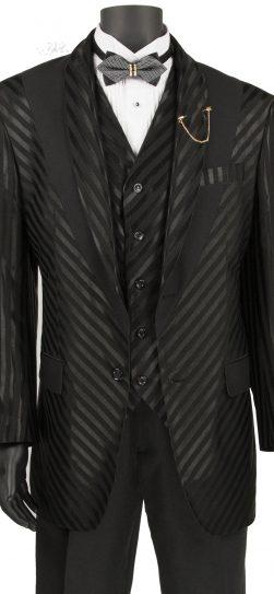 vinci, mens shadow stripe suit, black shadow stripe suit, 23RS-9