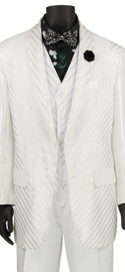 vinci, mens white shadow stripe suit. 23RS-9