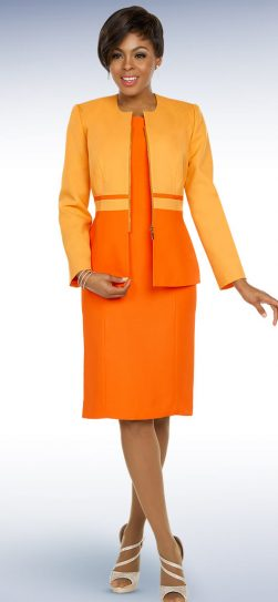 benmarc executive, 11796, orange jacket dress, orange church dress