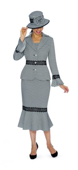 Giovanna, 0910, black-white skirt suit