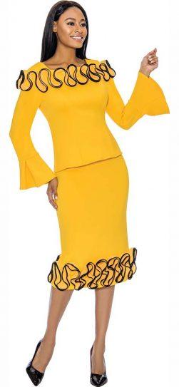 susanna, 3910,yellow skirt suit