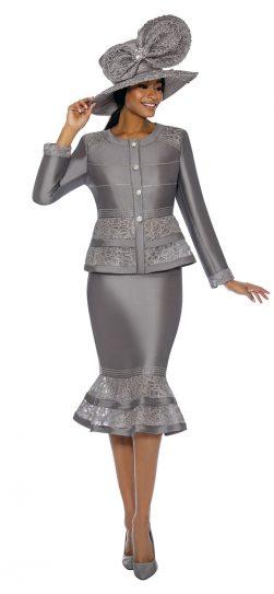 terramina, silver skirt suit, 7736