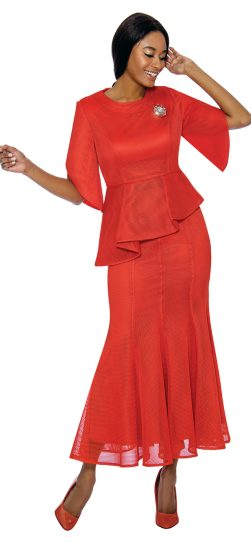 terramina, red skirt suit, 7737