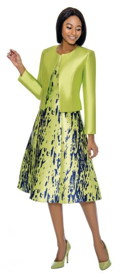 Terramina, 7750, lime green skirt suit